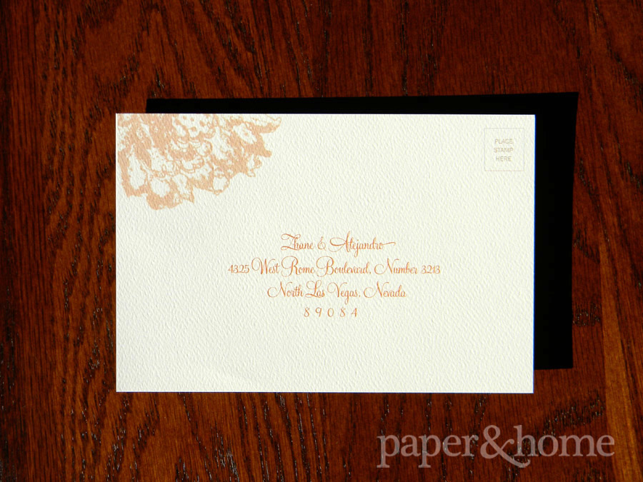 Rust Orange Reply Postcard (front) on Felt Paper with Lace Elements