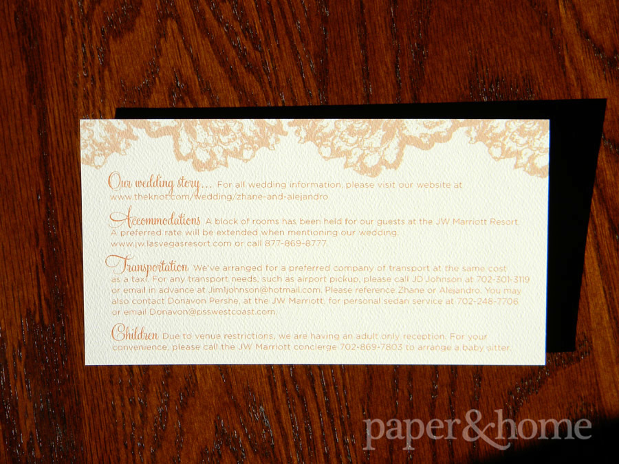 Rust Orange Wedding Info Card on Felt Paper with Lace Elements