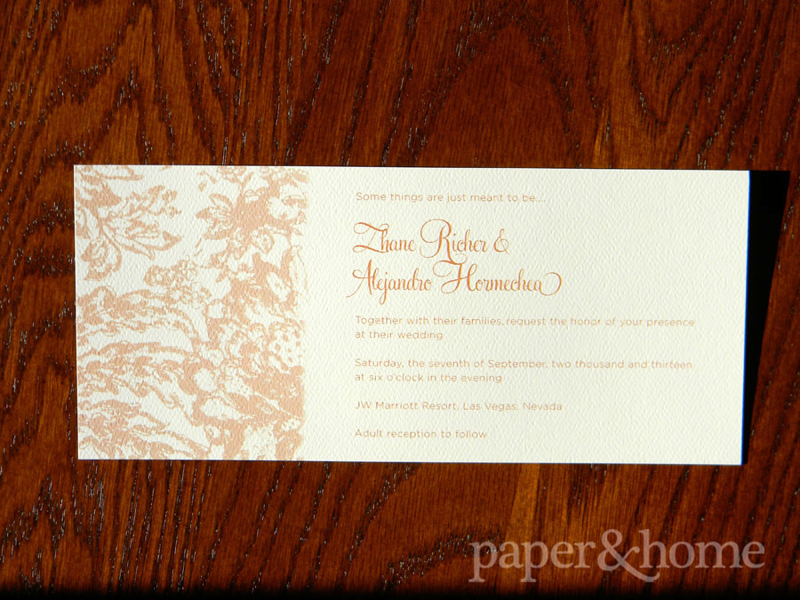 Rust Orange Wedding Invitation on Felt Paper with Lace Elements