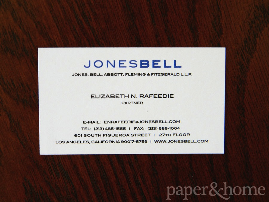 Blue and Black Thermography on Ivory Cream Business Cards