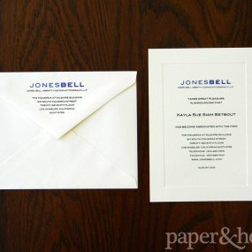 Blue and Black Thermography on Ivory Cream Letterhead and Envelope