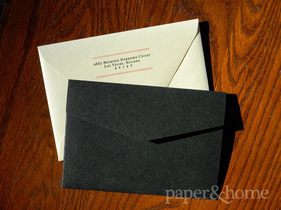 Black Shimmer Pocket and Champagne Shimmer Euro Flap Envelope with Return Address