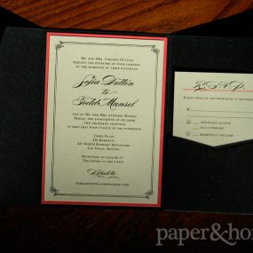 Champagne Shimmer Wedding Invitation Mounted on Red Paper with Reply Postcard in a Black Shimmer Pocket