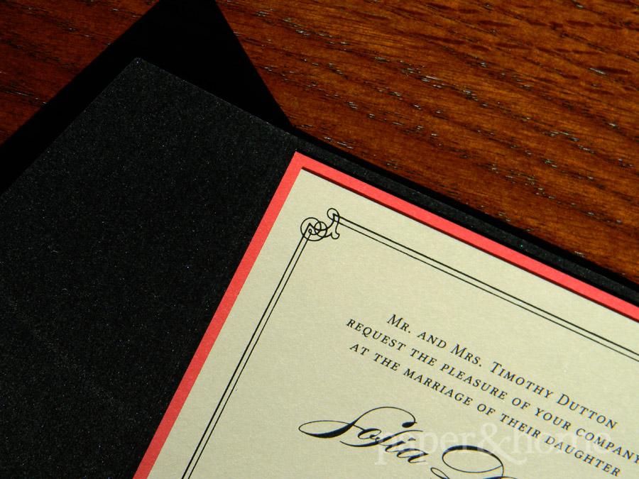 Champagne Shimmer Wedding Invitation Mounted on Red Paper in a Black Shimmer Pocket
