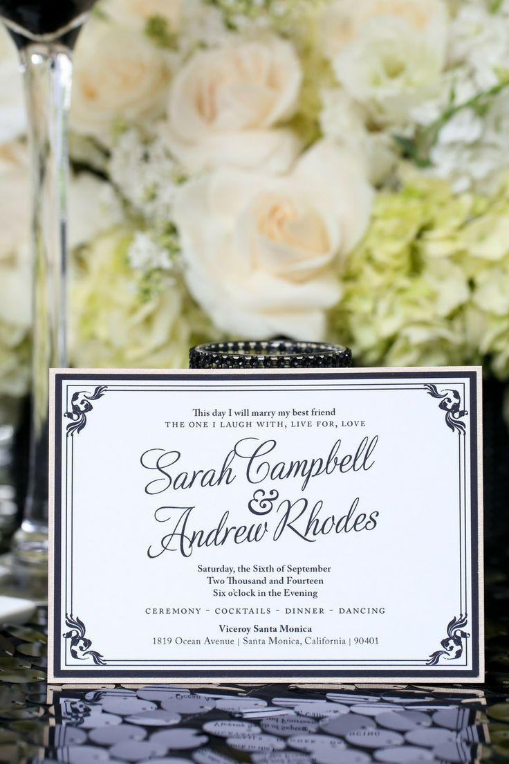 Modern Meets Old Hollywood Mounted Black and White Wedding Invitation