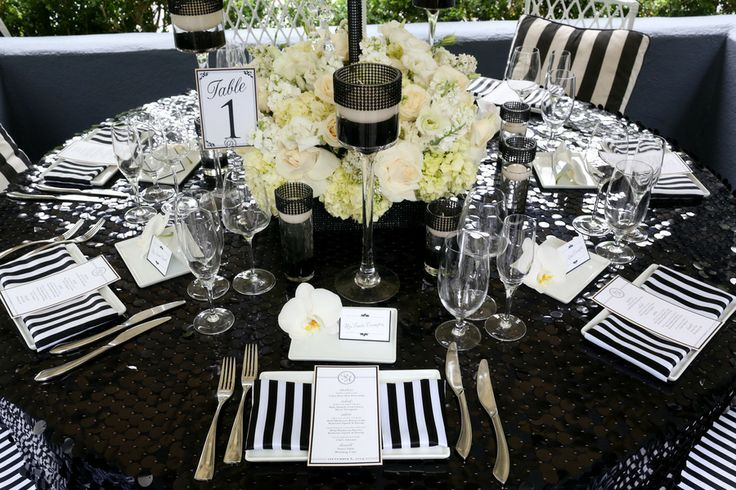 Modern Meets Old Hollywood Mounted Black and White Table Number, Place Card, and Menu Card
