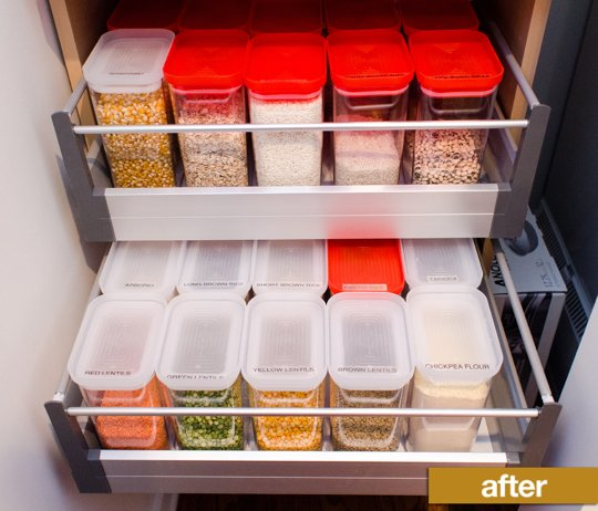 Kitchen pantry with labeled containers