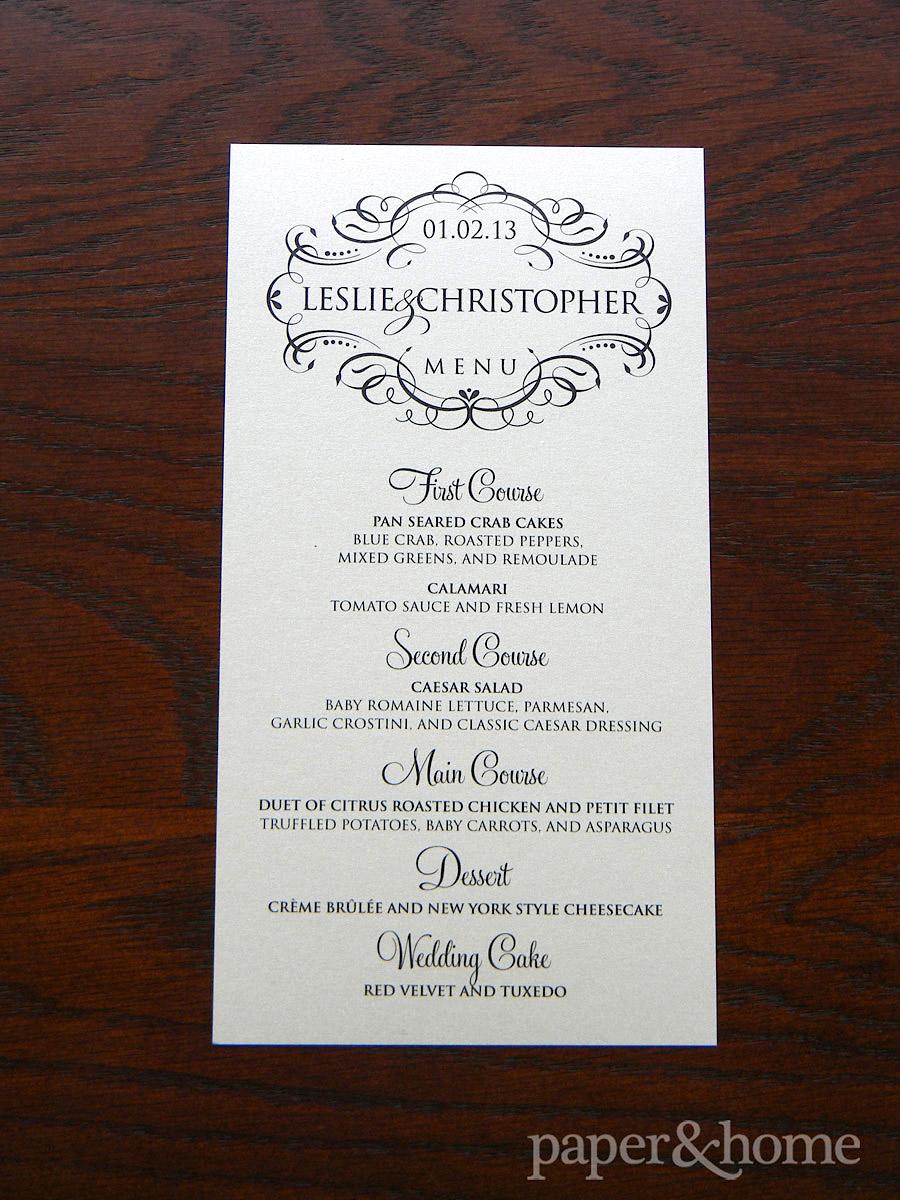 Ornate Shimmer Wedding Menu Card
