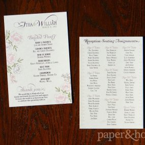 Vintage Inspired Floral Wedding Ceremony Program