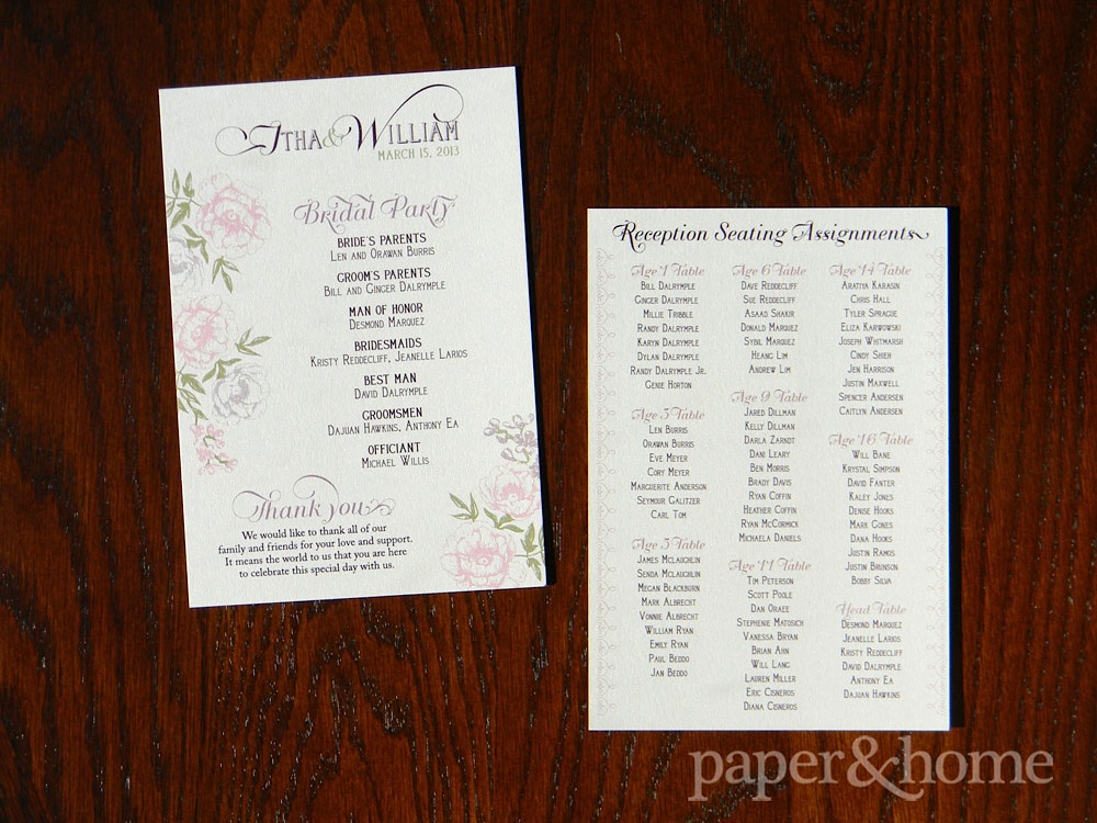 Vintage Inspired Floral Wedding Ceremony Program