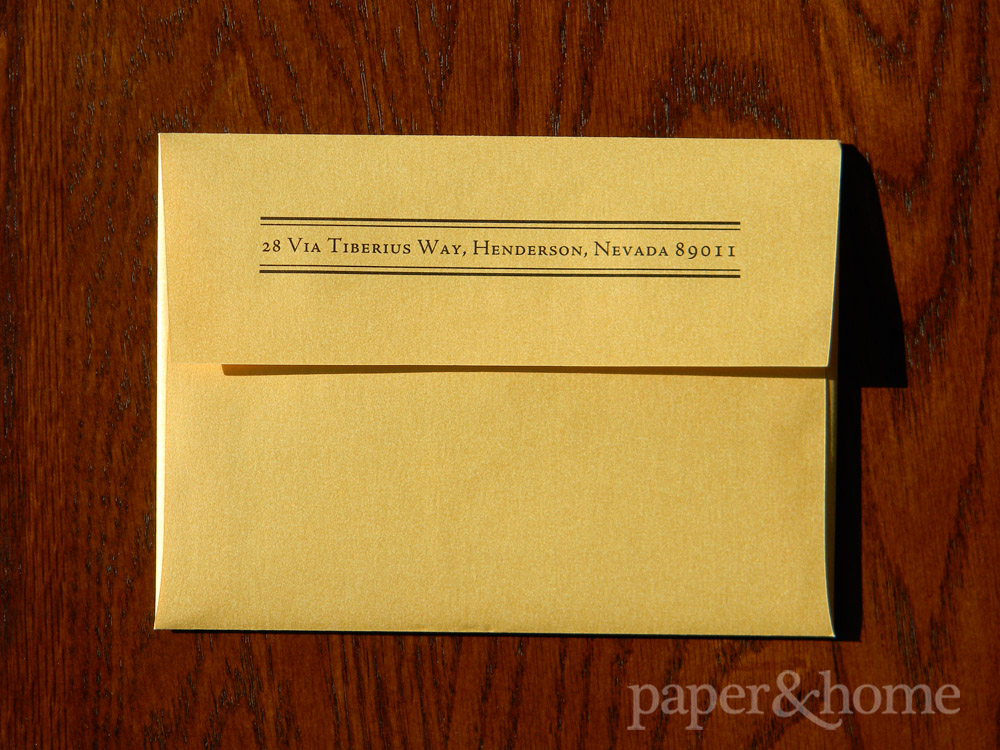 Return Address Printing on Gold Shimmer Envelope