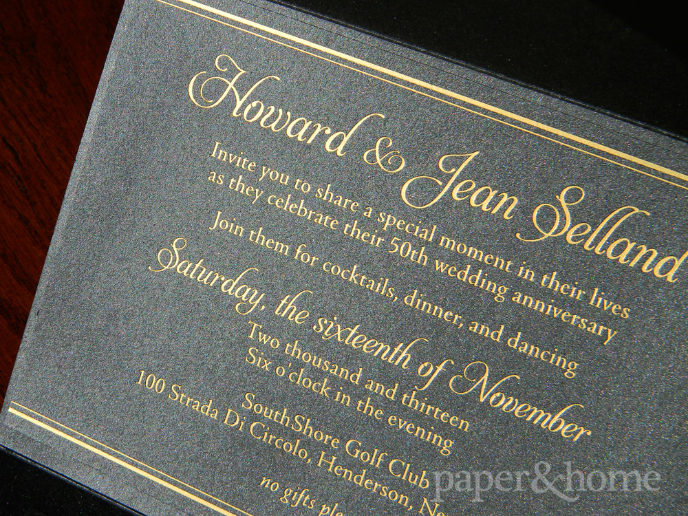 Golden anniversary invitations las vegas jean howard paper and home golden anniversary invitation with gold foil on black shimmer paper stopboris Image collections