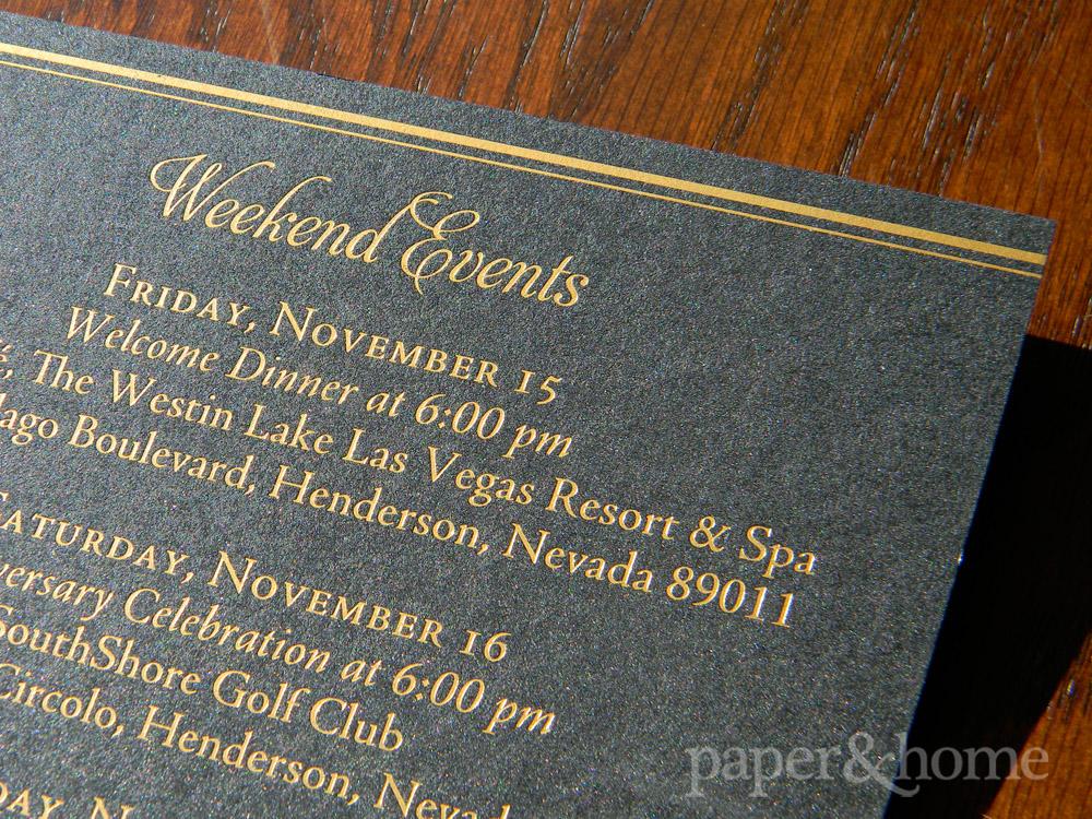 Golden Anniversary Event Card Gold Foil on Black Shimmer Paper