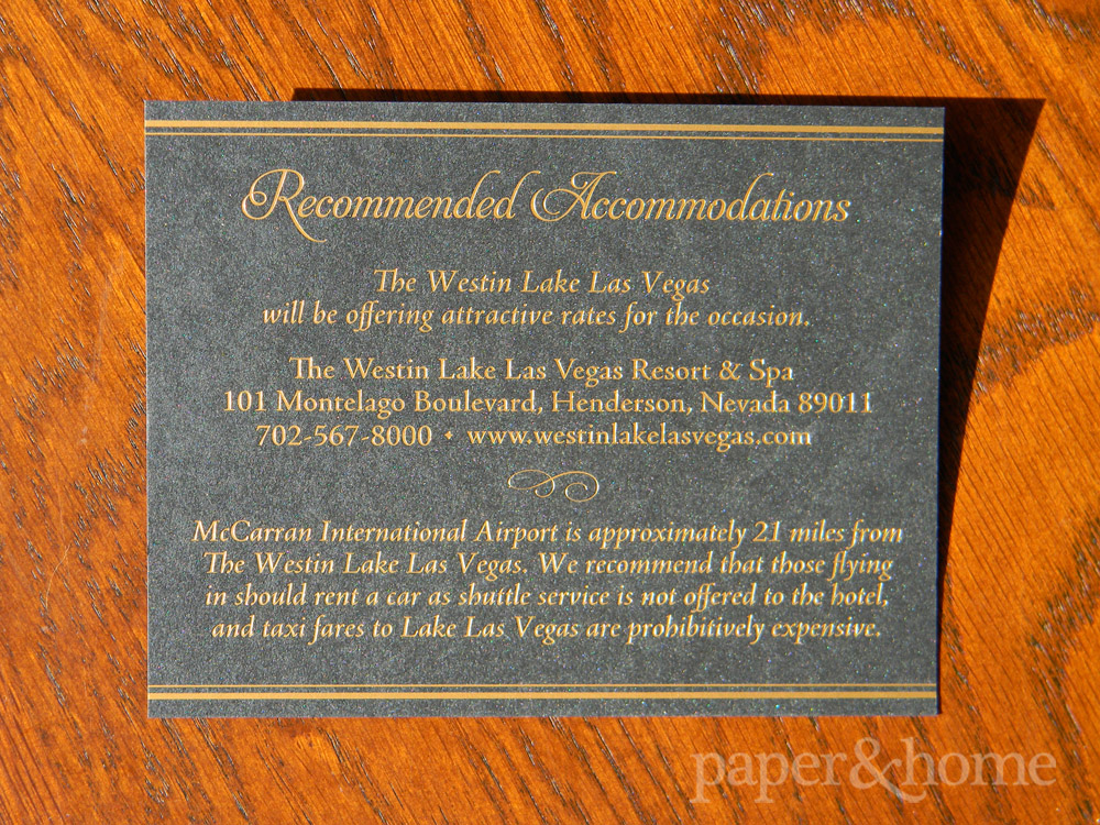 Golden Anniversary Accommodations Card Gold Foil on Black Shimmer Paper