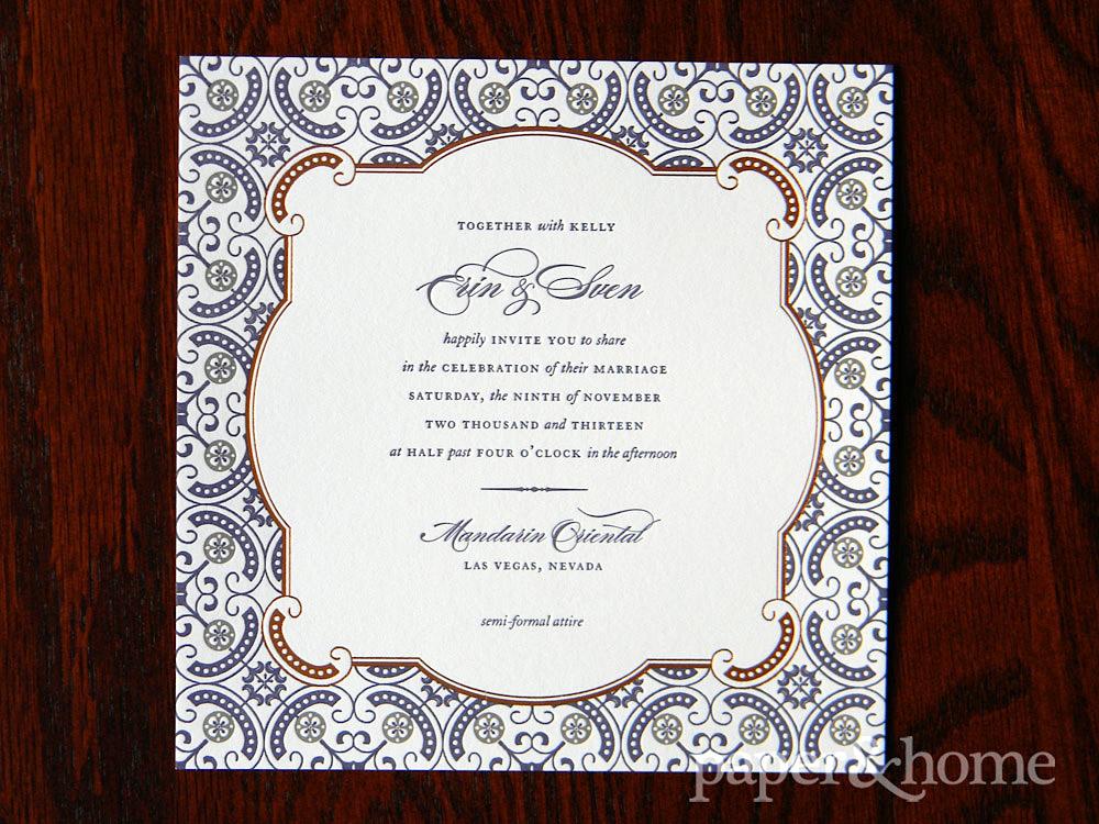 Ornate and Elegant Copper Foil Purple Letterpress Wedding Invitation