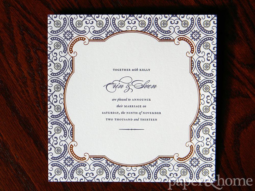 Ornate and Elegant Copper Foil Purple Letterpress Wedding Announcement