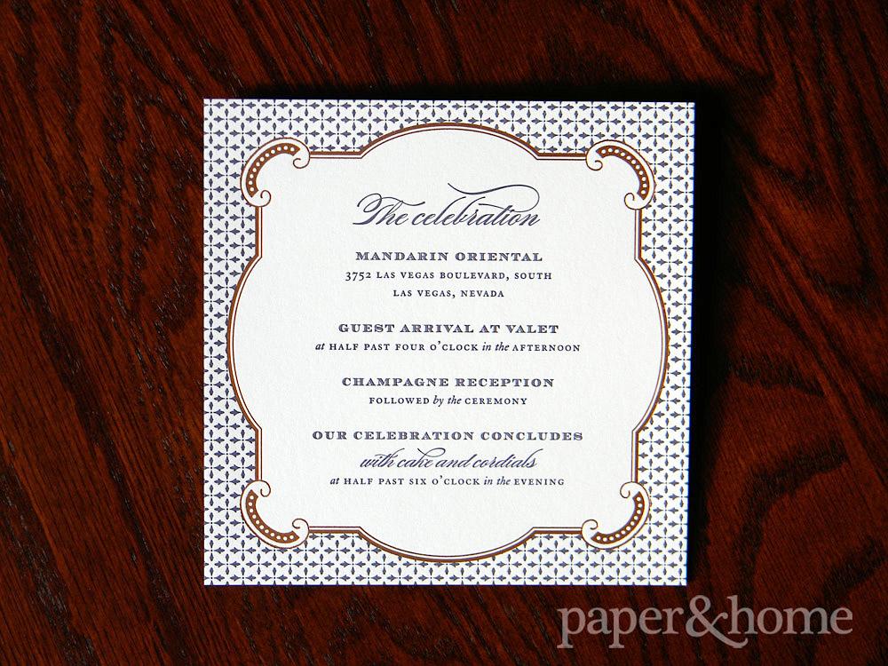 Copper Foil Purple Letterpress Wedding Info Card