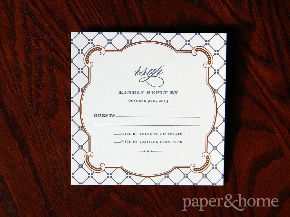Elegant and Ornate Copper Foil Purple Letterpress Wedding Reply Card