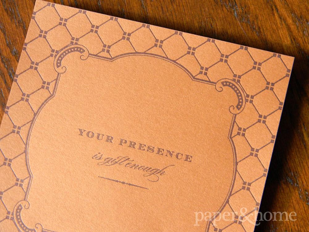 Purple Letterpress on Copper Paper