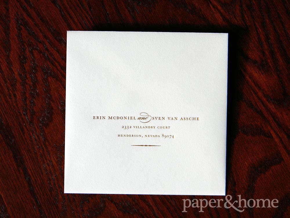 Copper Foil on White Envelope
