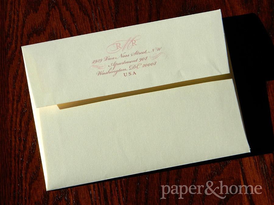 Return Addressing on Champagne Shimmer Envelope