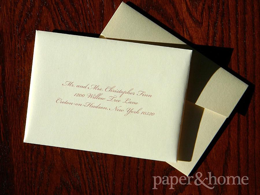Guest Addressing on Champagne Shimmer Envelope with Pocket Wedding Invitation