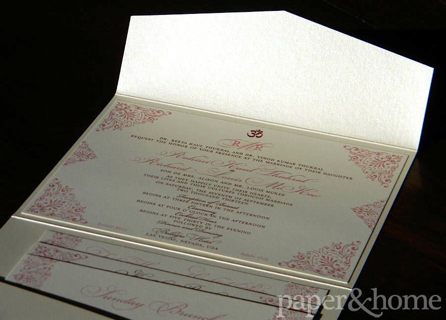 Indian Pocket Wedding Invitation Set on Shimmer Paper