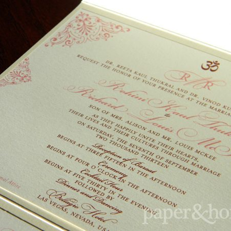 Indian Pocket Wedding Invitation on Shimmer Paper