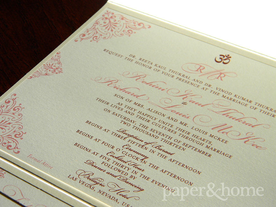 Indian Wedding Invitations Las Vegas Rohini Richard Paper And Home