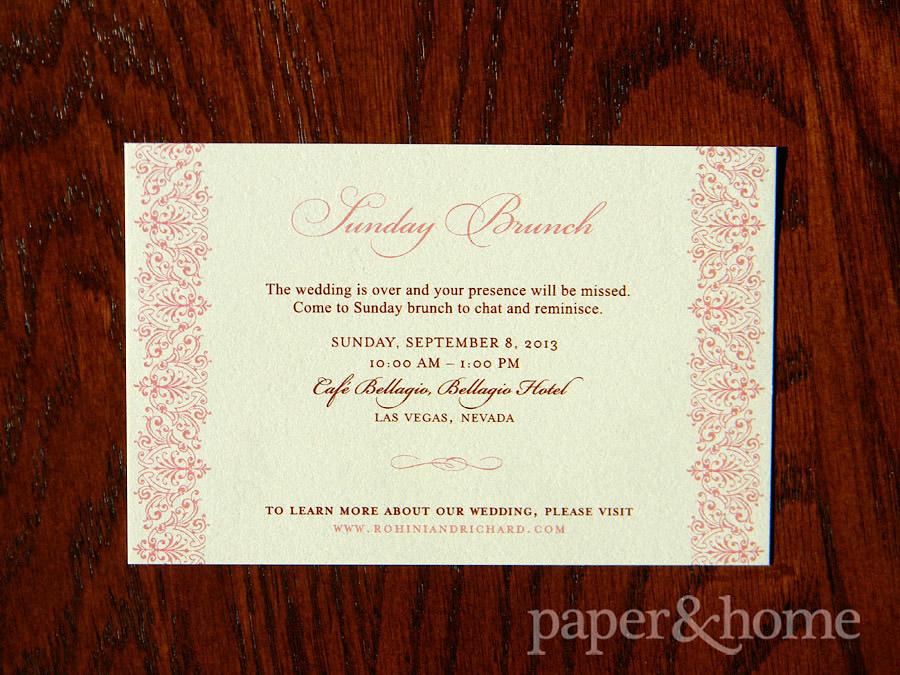 Indian Wedding Invitation Sunday Brunch Enclosure Card on Shimmer Paper