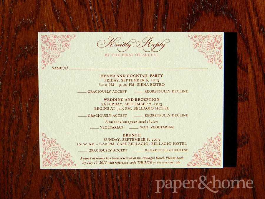 Indian Wedding Invitation Sunday Brunch Reply Postcard on Shimmer Paper
