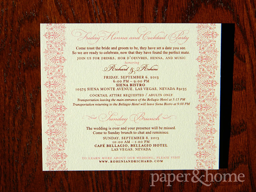 Indian Wedding Invitation Sunday Brunch Henna Party Card on Shimmer Paper