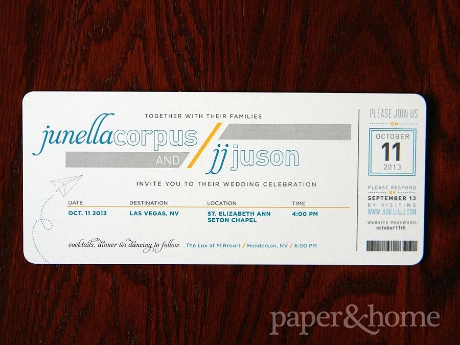 Destination Wedding Invitations Las Vegas: Junella & JJ - Paper and Home