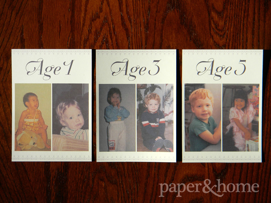 Cute childhood photo wedding table numbers