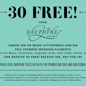 30 Free Wedding Invitation Cards from Dauphine Press