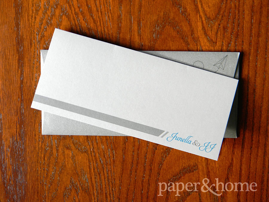 Destination Plane Ticket Wedding Invitation with Paper Airplane Envelope