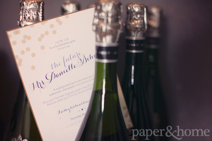 Modern Mardi Gras Bachelorette Party Invitations with Champagne Bottles