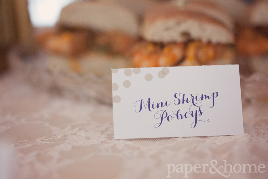 Mardi Gras Shrimp Po' Boys Tented Sign Card