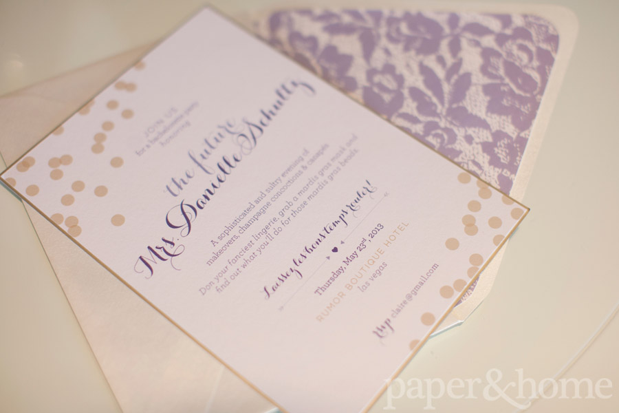 Modern Mardi Gras Bachelorette Party Invitations