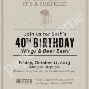 Wings and Beer Evite Invitation for Man's Birthday