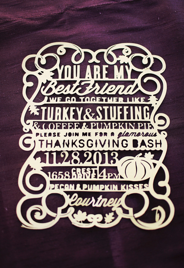 Laser Cut Thanksgiving Party Invitation
