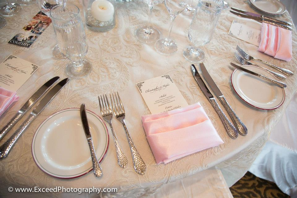 Ornate Menu Card with Monogram in Blush Pink, Black, and Champagne