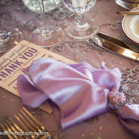 Purple Typography Wedding Thank You Card for Table Setting