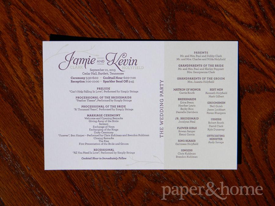 Garden Wedding Ceremony Program