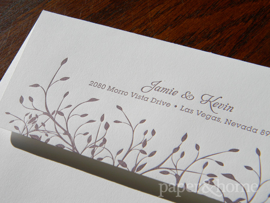 Garden Wedding Letterpress Envelope with Purple Leaves