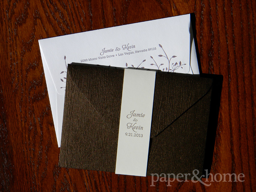 Wood Grain Wedding Invitation Pocket with Belly Band and Garden Wedding Letterpress Envelope with Purple Leaves