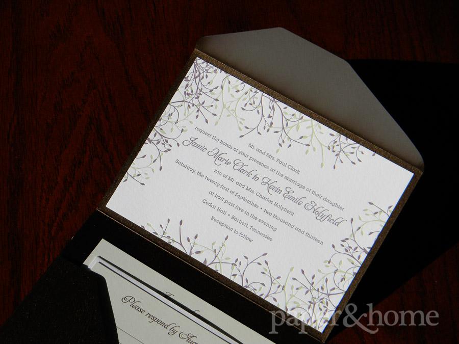 Wood Grain Garden Letterpress Pocket Wedding Invitation Set