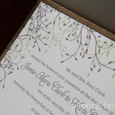 Wood Grain Garden Pocket Letterpress Wedding Invitation with Purple and Green Leaves