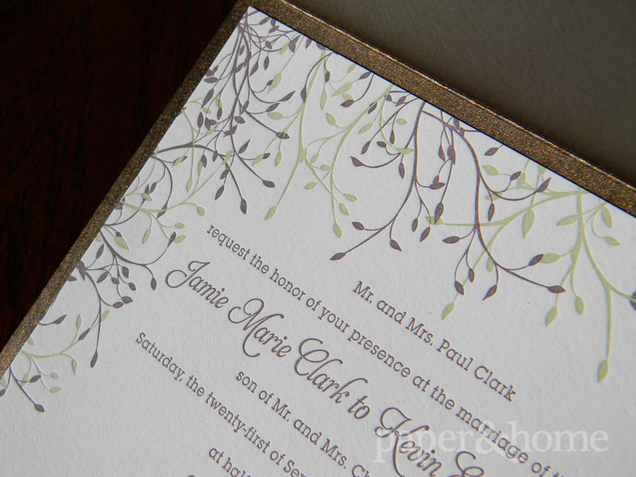Wood Grain Garden Pocket Letterpress Wedding Invitation with Purple and Green Leaves