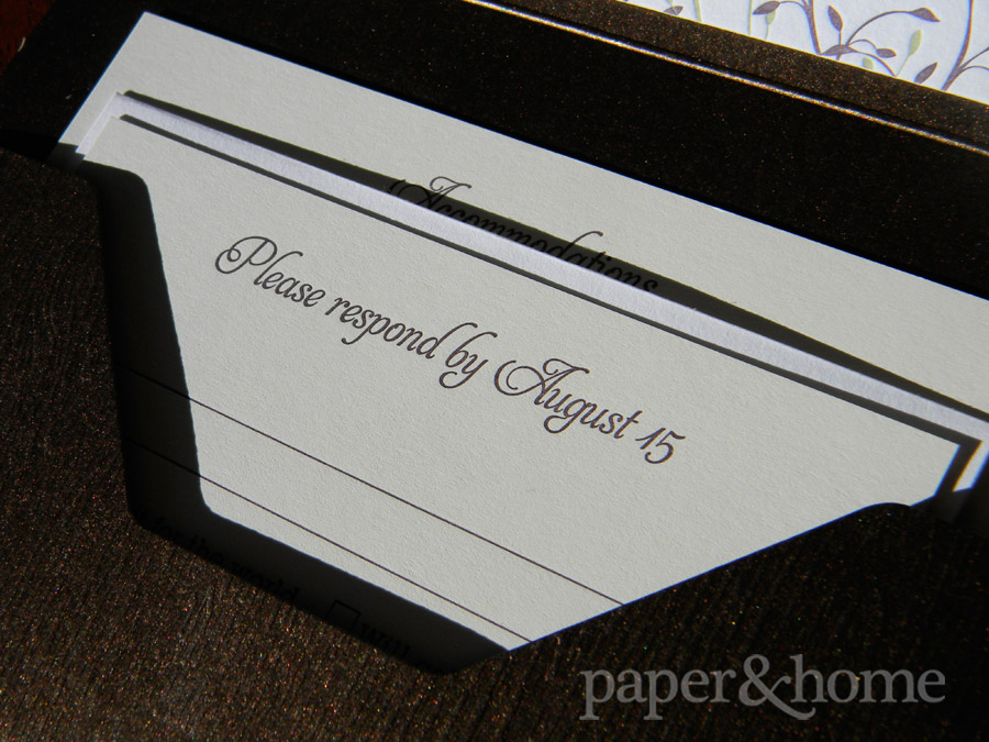 Letterpress Garden Wedding Invitation Reply Card